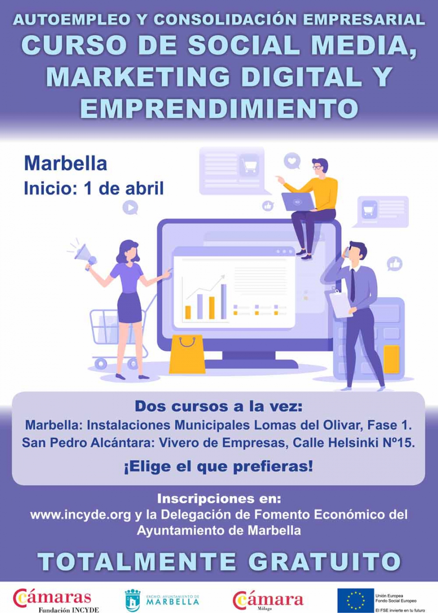 El 1 de abril se pondrá en marcha en Marbella y San Pedro Alcántara el curso 'Social Media, Marketing Digital y Emprendimiento'