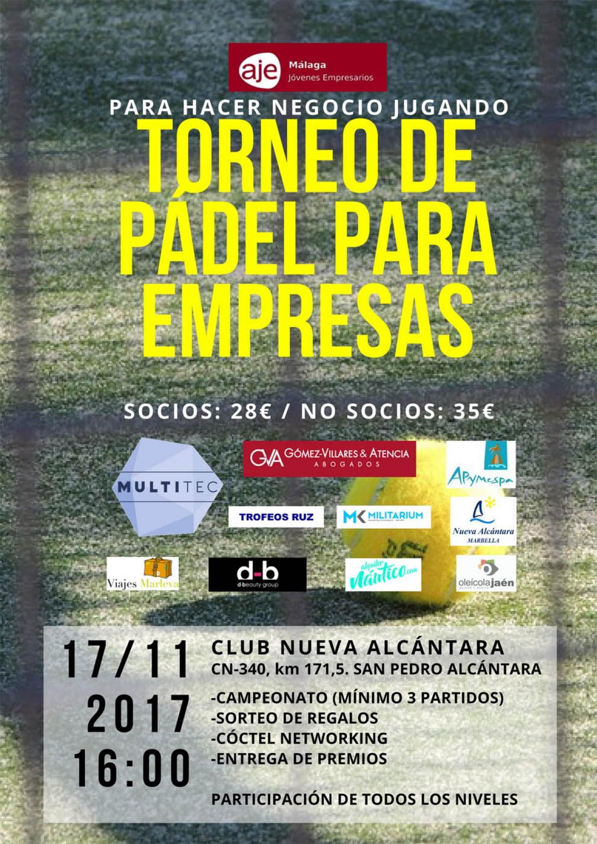 San Pedro Alcántara acoge este viernes un torneo de pádel para empresas