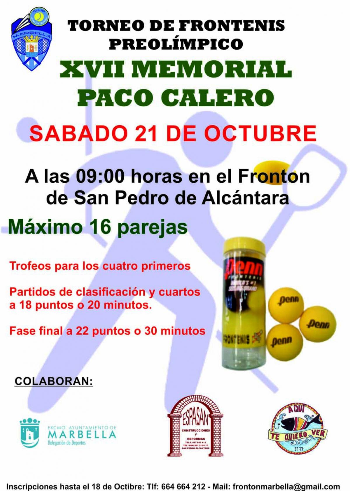 El Torneo de Frontenis Preolímpico XVII Memorial Paco Calero se celebrará este sábado en San Pedro Alcántara