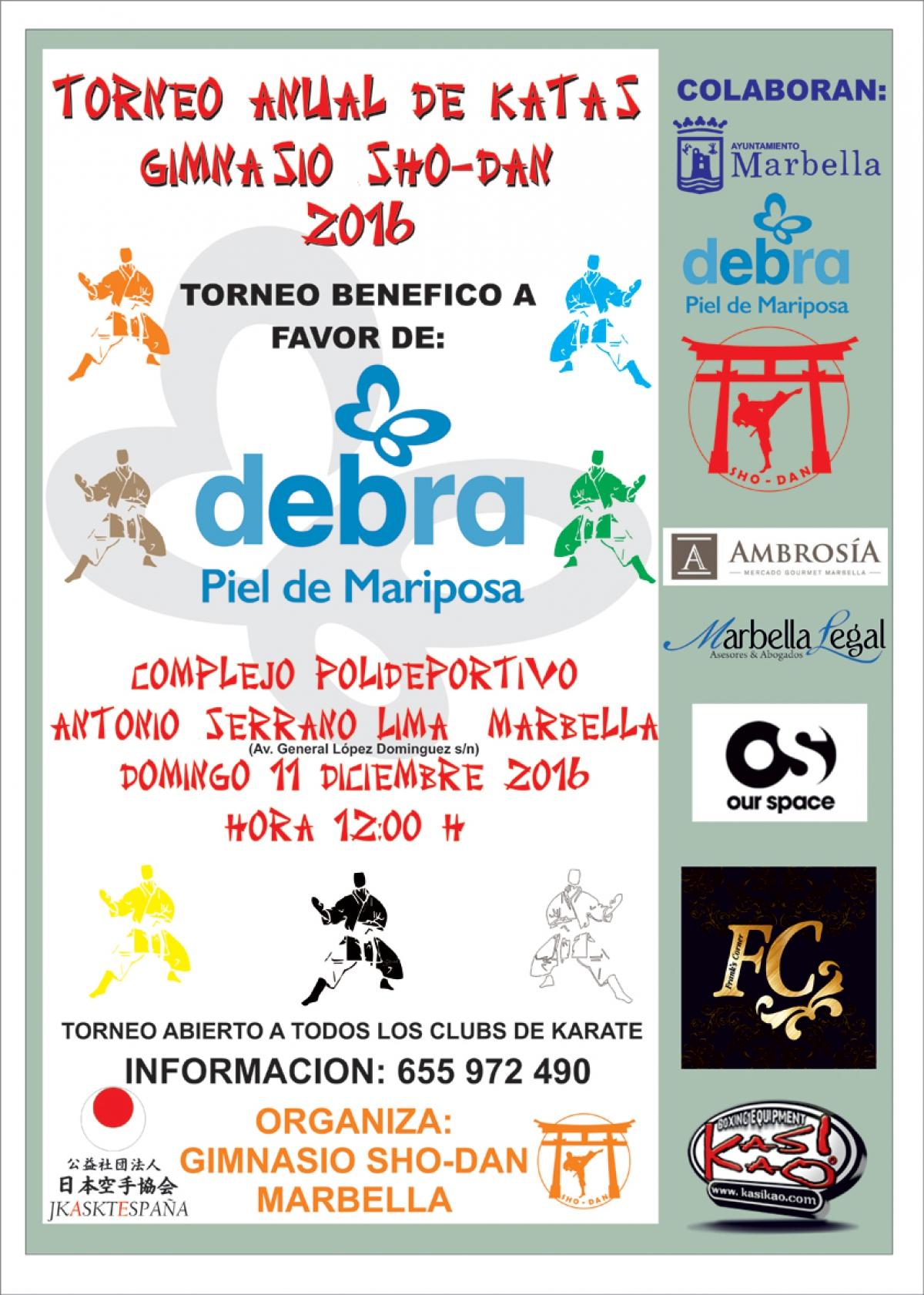 El Ayuntamiento colabora con el torneo amistoso del Gimnasio SHO-DAN a beneficio de la Asociación Debra que se celebrará este domingo
