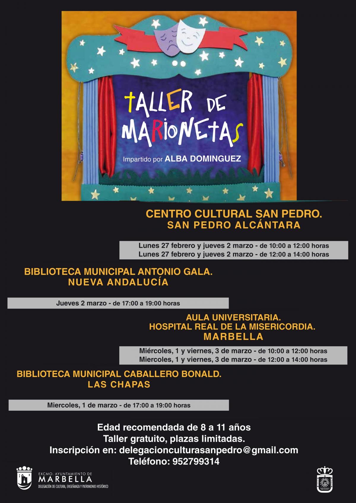 La delegación de Cultura organiza talleres de marionetas durante la Semana Blanca en Marbella, San Pedro, Nueva Andalucía y Las Chapas