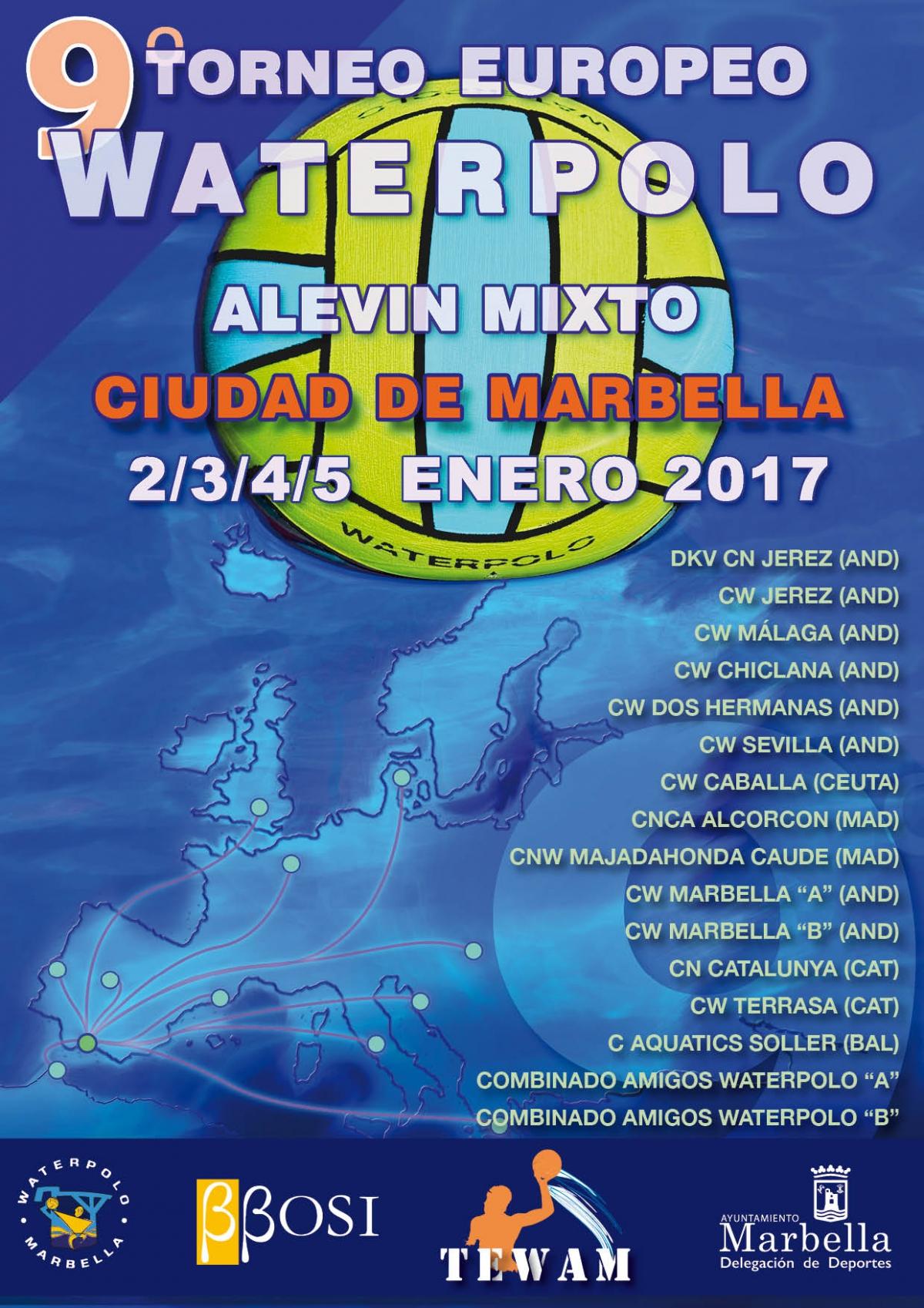 Cerca de 200 deportistas de 16 equipos participarán del 2 al 5 de enero en el IX Torneo Europeo Waterpolo Alevín Mixto Tewan 2017