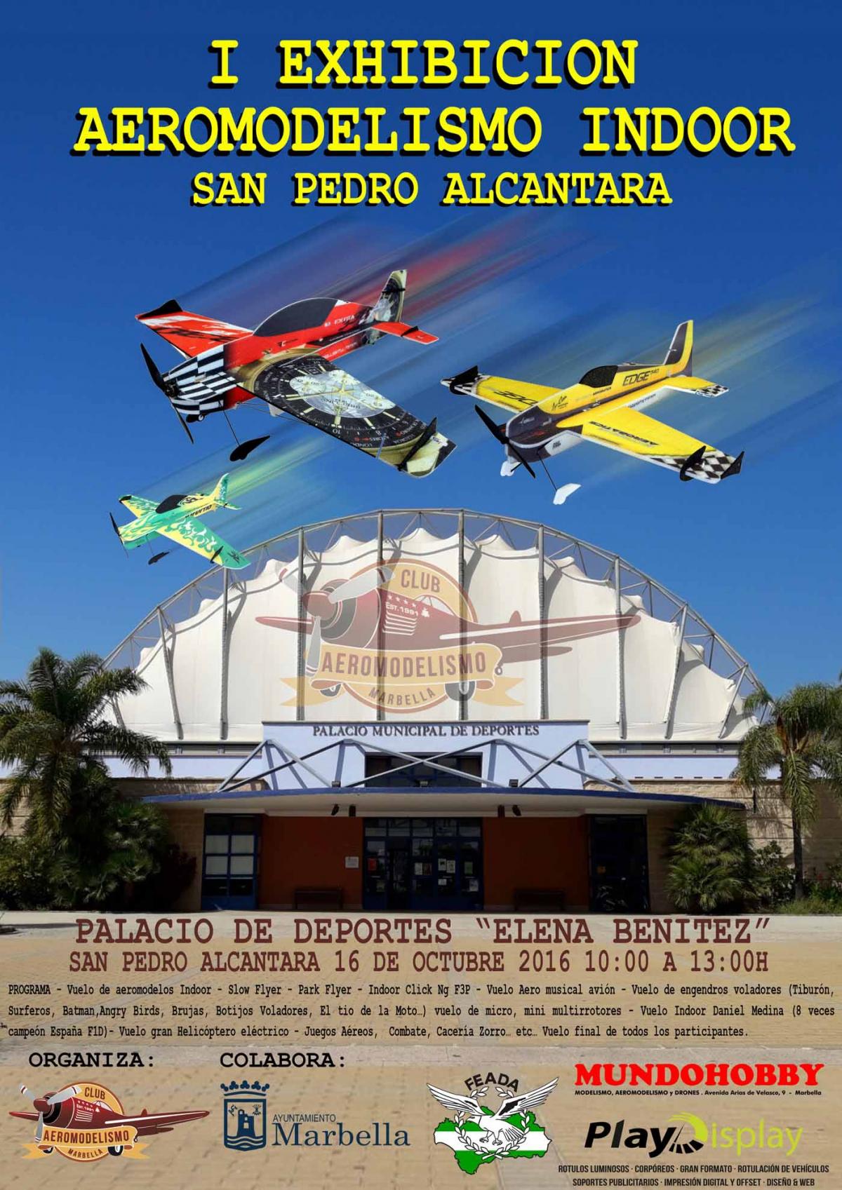 El Palacio de Deportes 'Elena Benítez' acogerá este domingo la I Exhibición de Aeromodelismo de San Pedro Alcántara