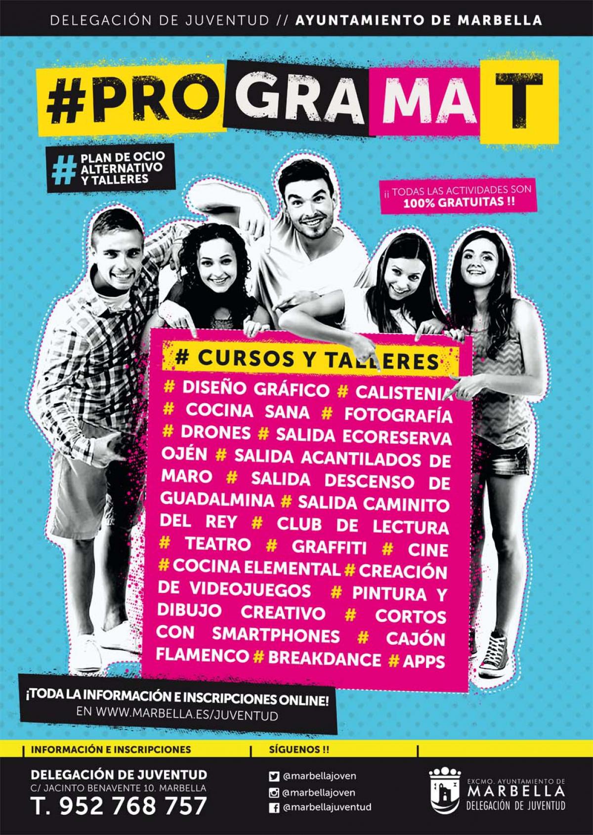Juventud pone en marcha una nueva edición de Programa-T, que ofertará 21 talleres y actividades y más de 470 plazas