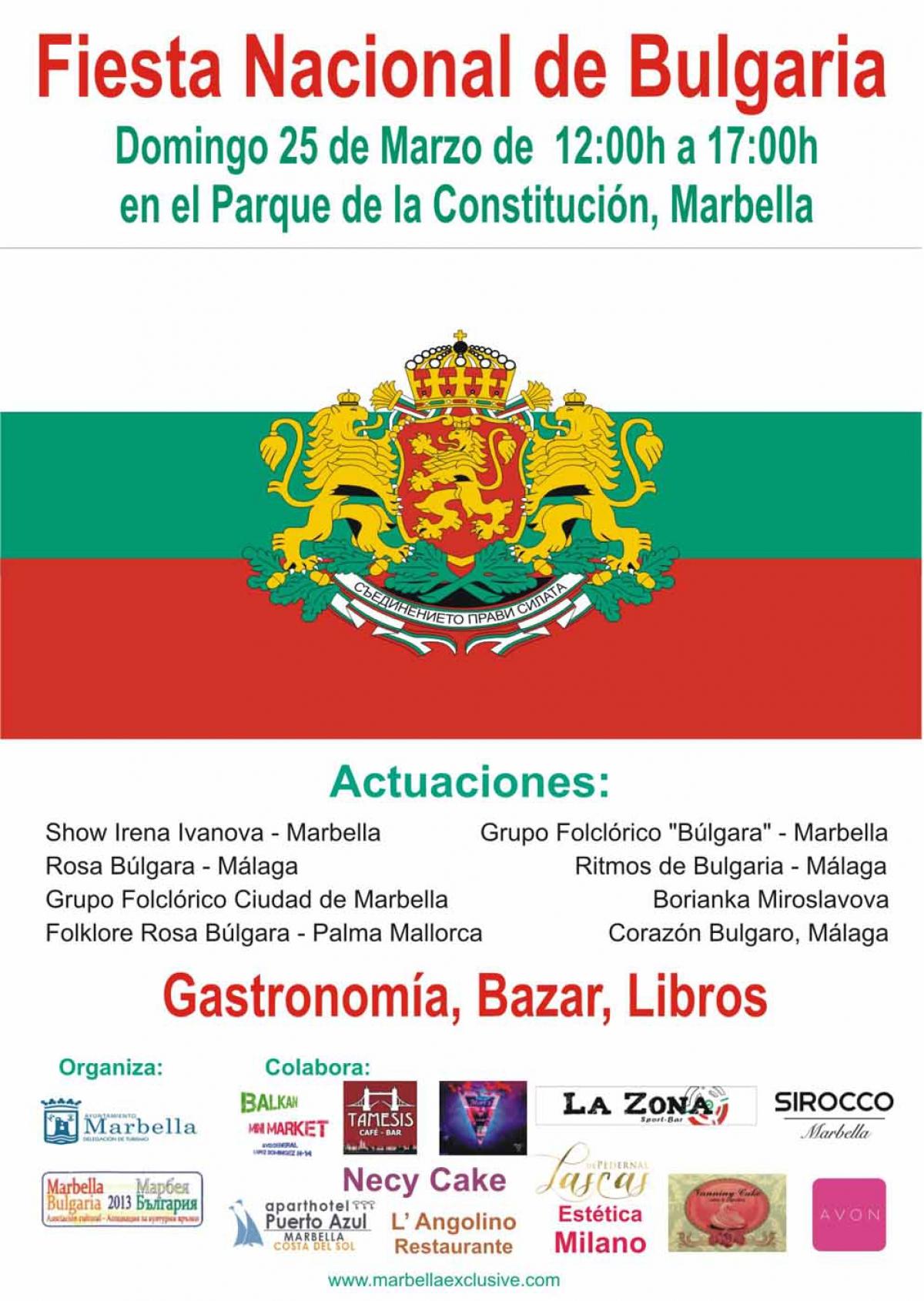 La Fiesta Nacional de Bulgaria se celebrará el domingo 25 de marzo en el Parque de la Constitución
