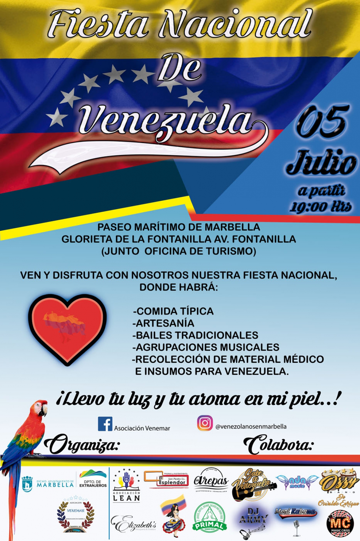 El 5 de julio se celebra la Fiesta Nacional de Venezuela en el Paseo Marítimo de Marbella