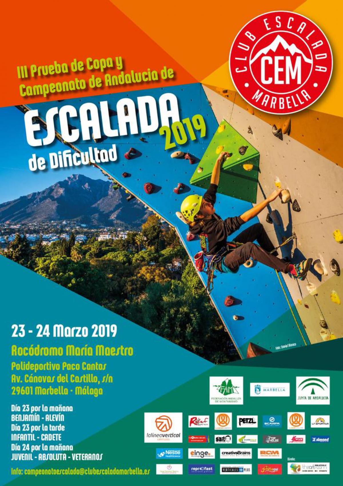 El Rocódromo María Maestro del Polideportivo Paco Cantos acoge este fin de semana la III Prueba de Copa y Campeonato de Andalucía de Escalada de Dificultad 2019
