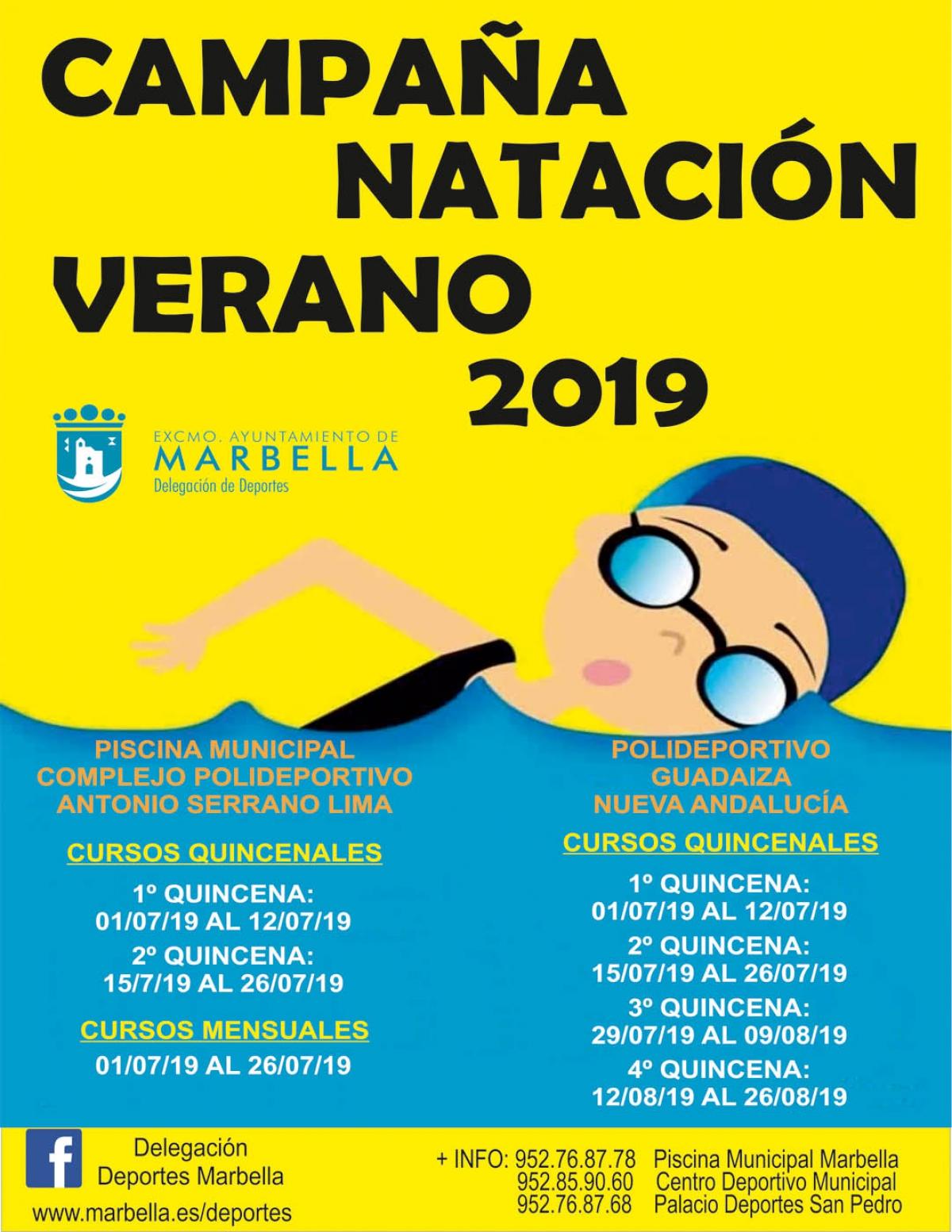 La delegación de Deportes oferta 2.800 plazas en la campaña de Natación de Verano y el programa 'Marbella Summer Sport' durante los meses de julio y agosto