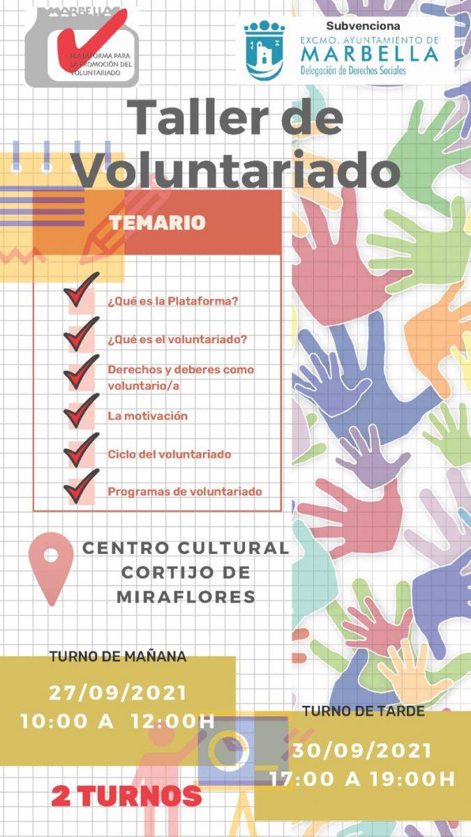 [30 Sep 2021] - FORMACIÓN BÁSICA DE VOLUNTARIADO (Cursos y Talleres, Derechos Sociales, Asociaciones) Centro Cultural