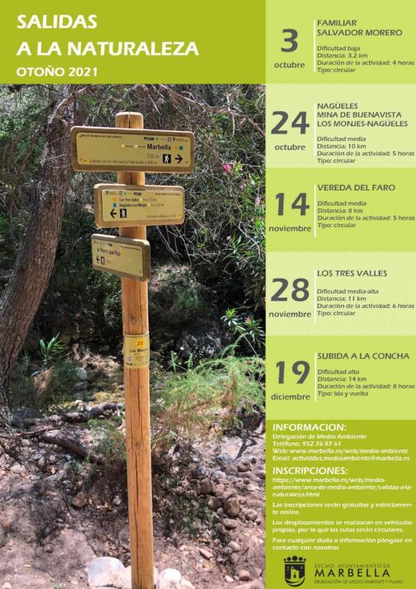 La concejalía de Medio Ambiente celebrará  cinco actividades entre el 3 de octubre y el 12 de diciembre dentro del Programa 'Salidas a la Naturaleza' para este otoño