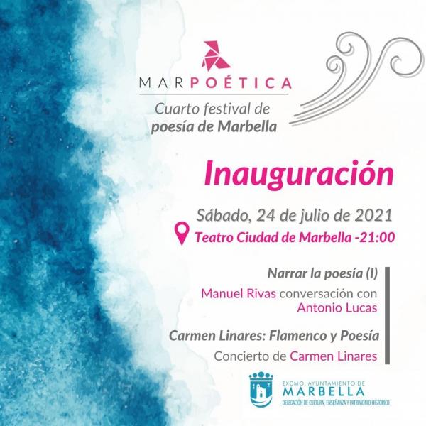 Las actividades literarias del Festival Marpoética arrancan mañana en el Teatro Ciudad de Marbella con la voz de Manuel Rivas y la fuerza flamenca de Carmen Linares