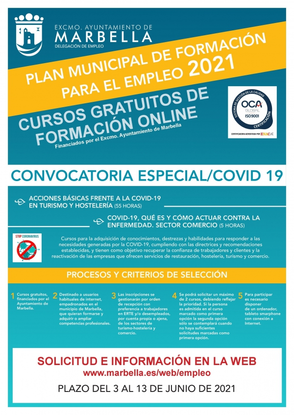 El Ayuntamiento convoca dos cursos gratuitos online para formar a 200 desempleados de la ciudad en materia Covid-19 dentro de los sectores del Turismo y Hostelería y del Comercio