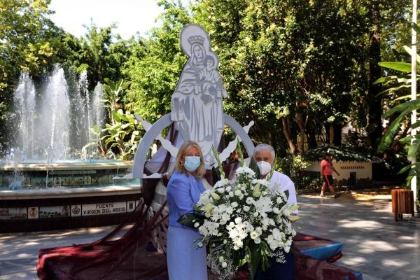 El Ayuntamiento conmemora la festividad de la Virgen del Carmen, patrona de la ciudad, con un altar con motivos marineros en el Paseo de la Alameda