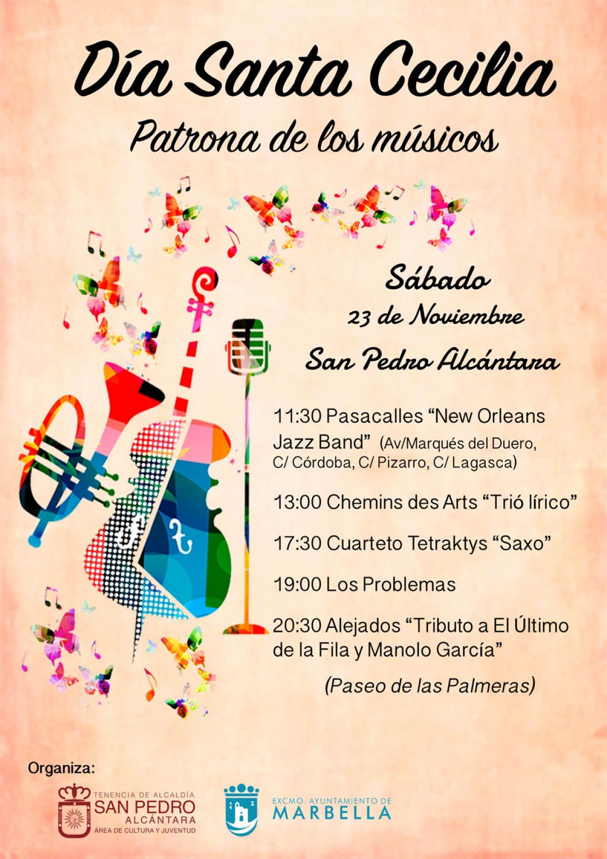 San Pedro Alcántara celebrará este sábado un concierto con cinco actuaciones para conmemorar la festividad de Santa Cecilia, patrona de la música