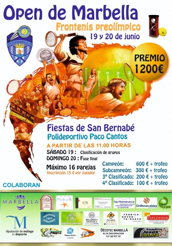 El Polideportivo Paco Cantos albergará los próximos días 19 y 20 de junio el IX Open Nacional Ciudad de Marbella de Frontenis
