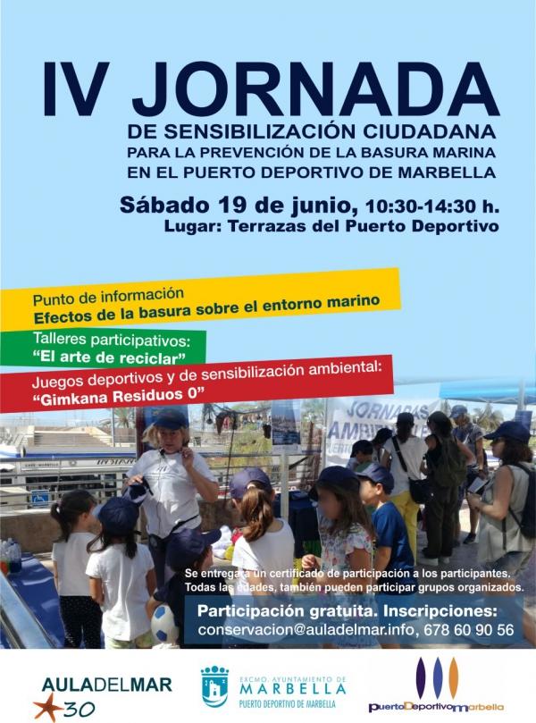 El Puerto Deportivo Virgen del Carmen y el Aula del Mar organizan este sábado la cuarta edición de la jornada de la sensibilización ciudadana para la prevención de la basura marina