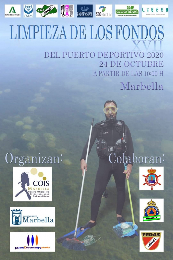 Este sábado se celebra la XVII Jornada de Limpieza de los Fondos del Puerto Deportivo de Marbella 2020