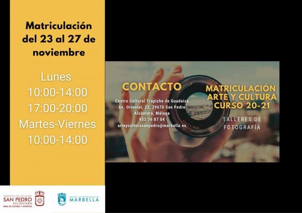 Arte y Cultura ofrecerá en San Pedro Alcántara un Curso de Fotografía Digital cuyo plazo de inscripción se abrirá el lunes 23 de noviembre