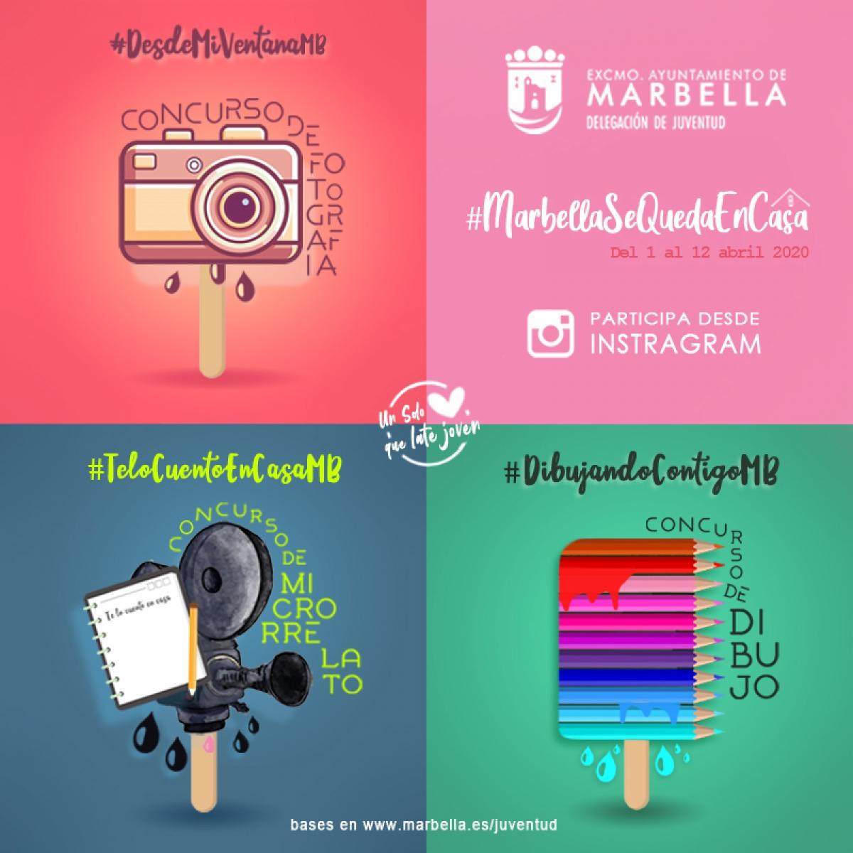 La concejalía de Juventud pone en marcha los concursos creativos 'Marbella se queda en casa' que premiarán las mejores fotografías, microrelatos y dibujos de la ciudadanía