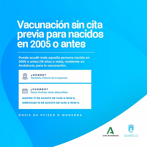 Los residentes andaluces que se encuentren en Marbella la próxima semana podrán acudir a las tres jornadas de vacunación masiva sin cita previa