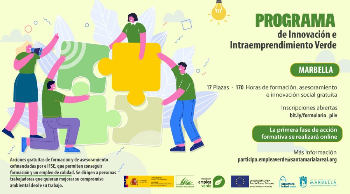 Marbella acogerá el 'Programa de Innovación e Intraemprendimiento Verde', una nueva acción formativa para personas trabajadoras que quieran mejorar su compromiso ambiental desde su empleo